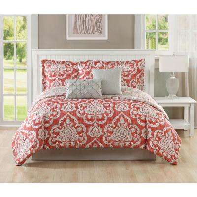 Studio 17 Dorian Coral/Taupe 7-Piece Full/Queen Comforter Set