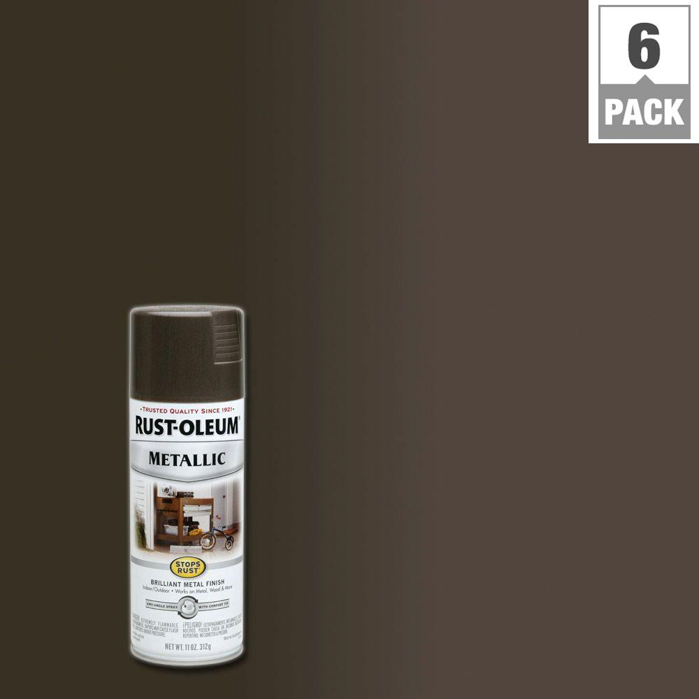 11 oz. Dark Bronze Bright Coat Metallic Spray Paint (6-Pack)