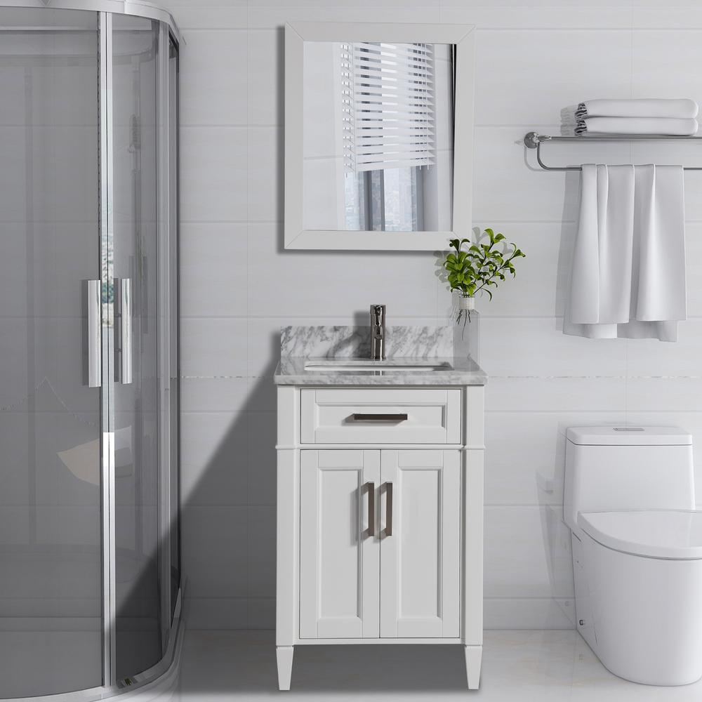 Savona 24 in. W x 22 in. D x 36 in. H Bath Vanity in White with Vanity Top in White with White Basin and Mirror