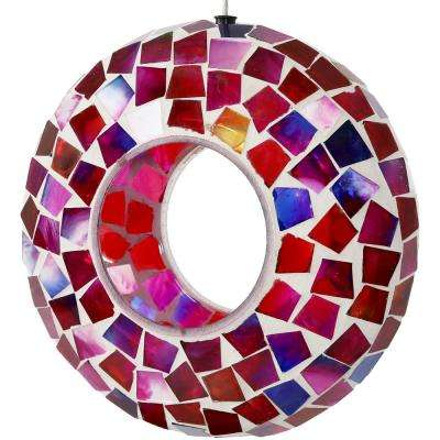 7 in. Crimson Mosaic Round Unique Hanging Outdoor Decorative Glass Fly-Through Bird Feeder