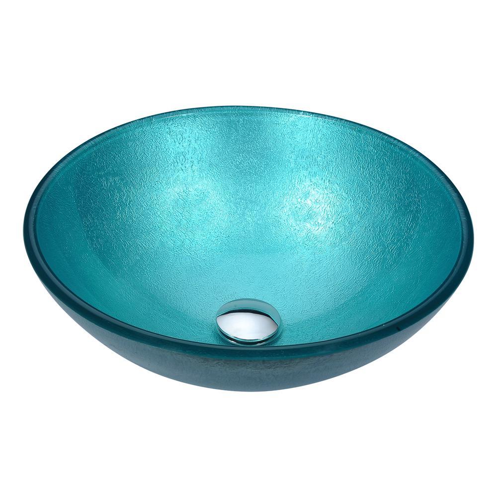 Anzzi Gardena Deco Glass Vessel Sink In Coral Blue Ls Az8221 The Home Depot
