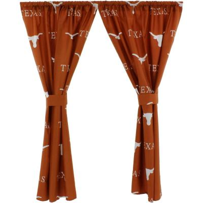 42 in. W x 84 in. L Texas Longhorns Cotton With Tie Back Curtain in Orange   (2 Panels)