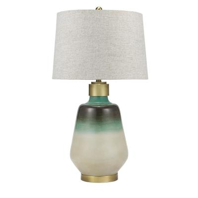 32.5 in. Ombre Blue with Green and Iron Coastal Table Lamp and LED Bulb