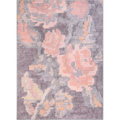 Posh Flore French Country Tapestry Floral Blush Pink Grey 5 ft. x 7 ft. Area Rug