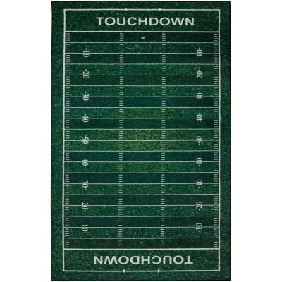 Football Yards Green 8 ft. x 10 ft. Theme Area Rug