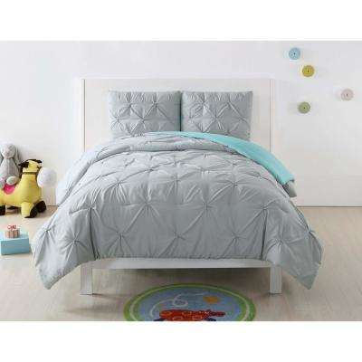 Pleated Silver Grey and Turquoise Twin XL Duvet Set