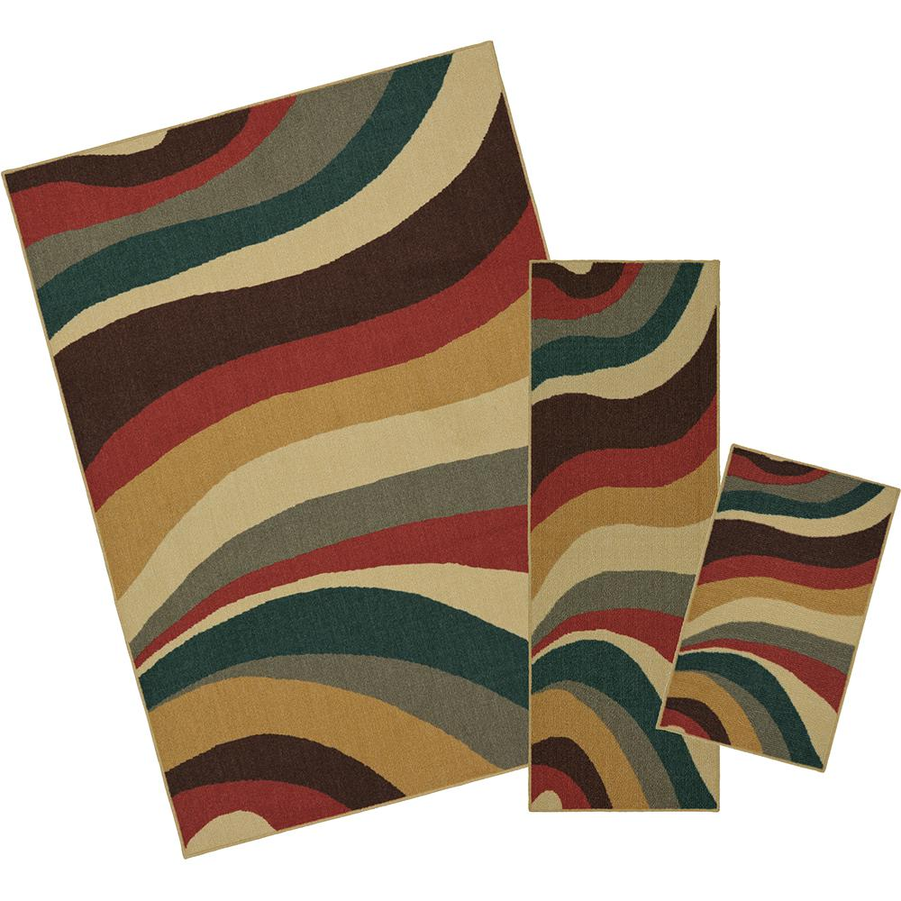 Wave Impression Multi 5 ft. x 7 ft. 3-Piece Rug Set