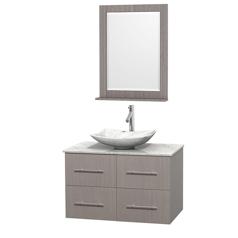 Wyndham Collection Centra 36 in. Vanity in Gray Oak with Marble Vanity Top in Carrara White, Marble Sink and 24 in. Mirror