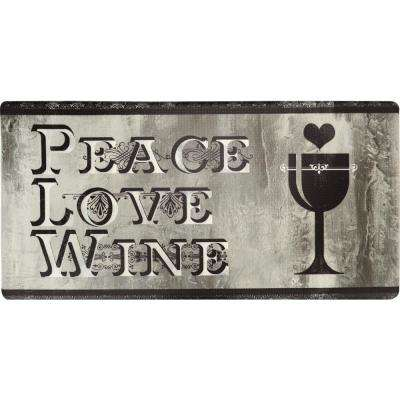 Cook N Comfort Gray Peace Love Wine 20 in. x 39 in. Kitchen Mat