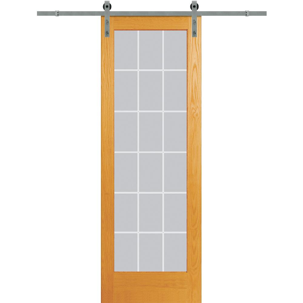 MMI Door 36 in. x 96 in. Clear 18-Lite V-Groove Unfinished Pine Single Sliding Barn Door with Wood Hardware Kit