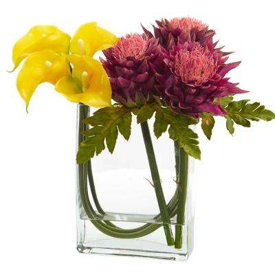 12 in. High Yellow Mauve Calla Lily and Artichoke in Rectangular Glass Vase Artificial Arrangement