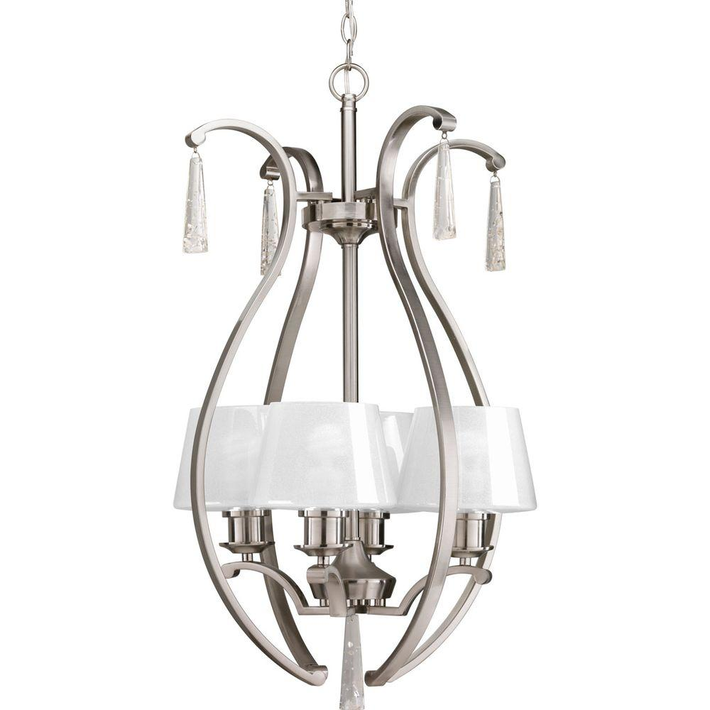 Progress Lighting Dazzle Collection 4 Light Brushed Nickel Foyer Pendant With Ice Gl