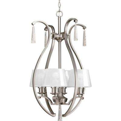Dazzle Collection 4-Light Brushed Nickel Foyer Pendant with Ice Glass