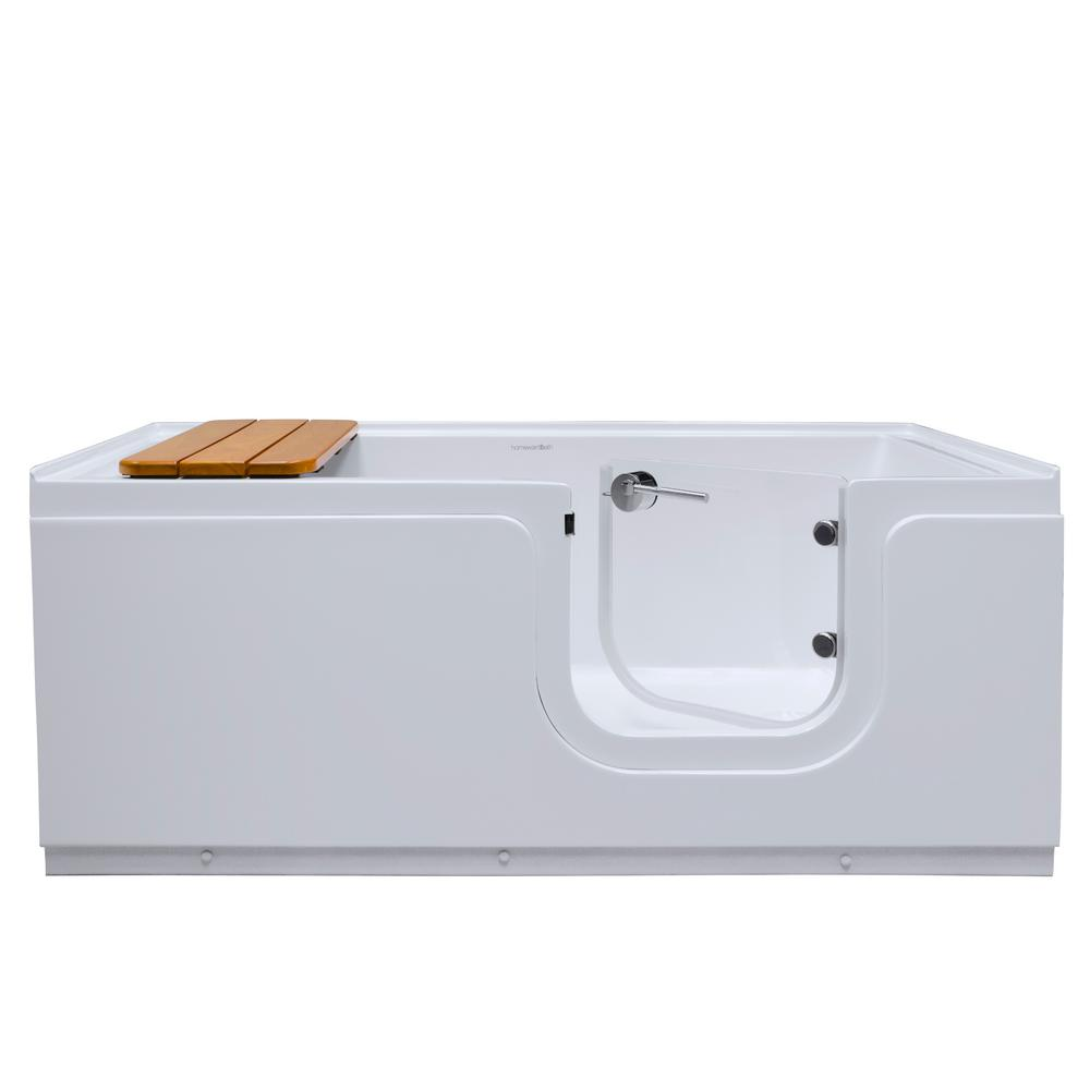 Homeward Bath Aquarite 5 ft. Right Drain Freestanding Step-In Bathtub with Waterproof Tempered Glass Tub Door and Bench in White