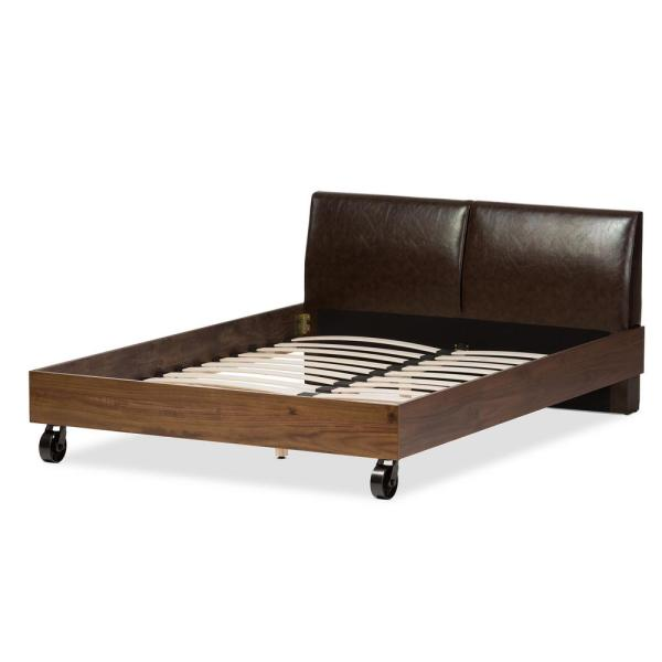 Baxton Studio Brooke Brown Faux Leather Upholstered Queen Platform Bed