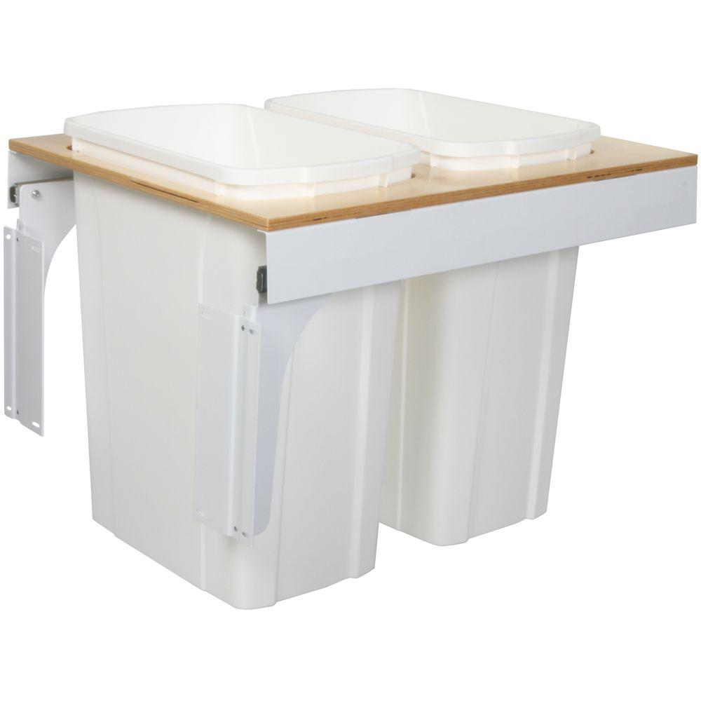 Knape & Vogt 17.5 in. x 17.5 in. x 23.19 in. In Cabinet Pull Out Top Mount Soft Close Trash Can-DISCONTINUED