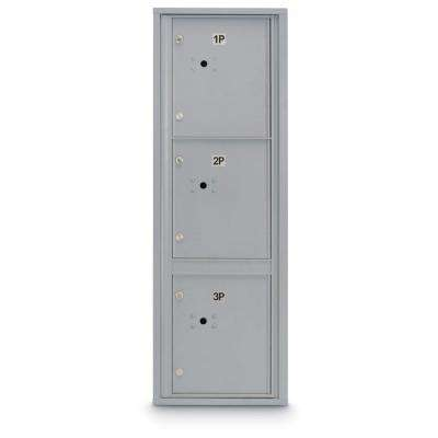 3-Parcel Door Locker 4C Front Loading Mailbox (Silver)