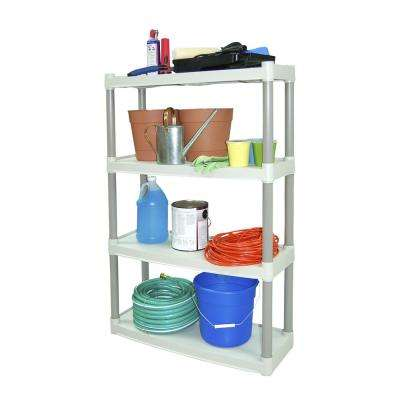 4-Shelf 32 in. x 12 in. Taupe/Tan Shelving Unit