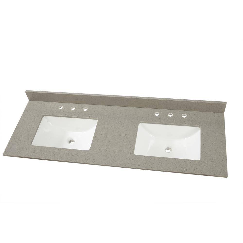 Home Decorators Collection 61 in. W x 22 in. D Engineered Quartz Vanity Top in Sterling Grey with White Double Trough Sink