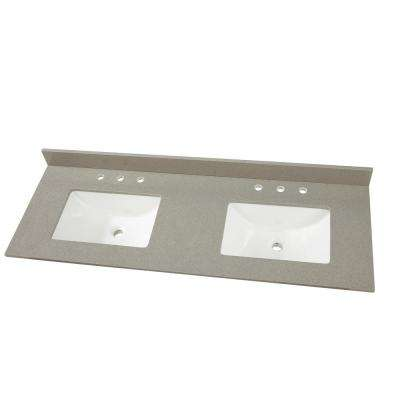 61in. W x 22 in. D Engineered Quartz Vanity Top in Sterling Grey with White Double Trough Basin