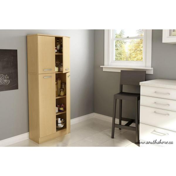 South Shore Axess 4 Door Natural Maple Food Pantry 7113971 The