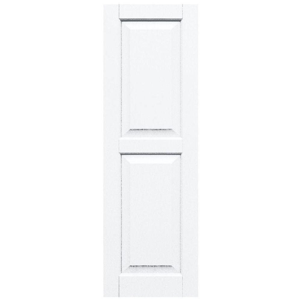 Winworks Wood Composite 15 in. x 47 in. Raised Panel Shutters Pair #631 White