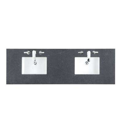 72 in. W Silestone Quartz with Double Basin Vanity Top in Charcoal Soapstone