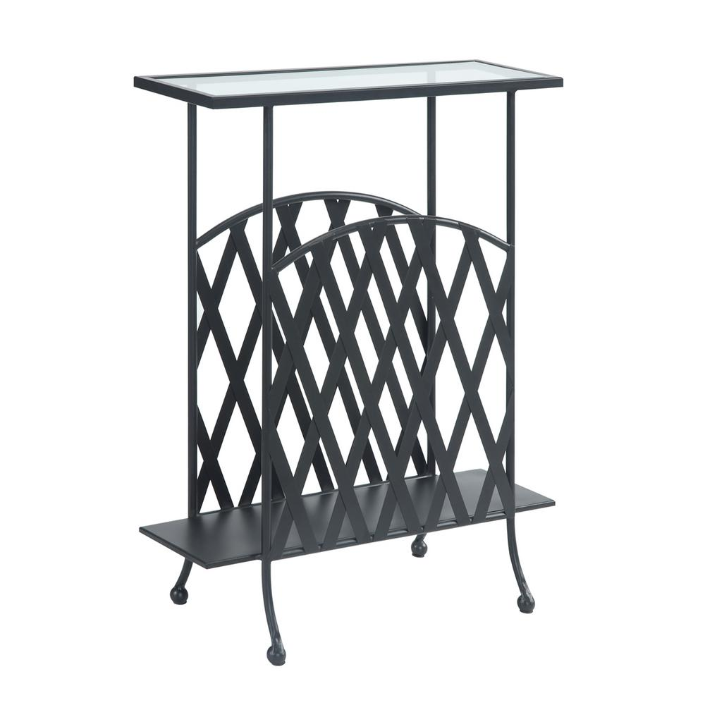 Convenience Concepts Wyoming Black Matte Wrought Iron Glass Top Side