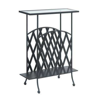 Wyoming Black Matte Wrought Iron Glass top Side Table