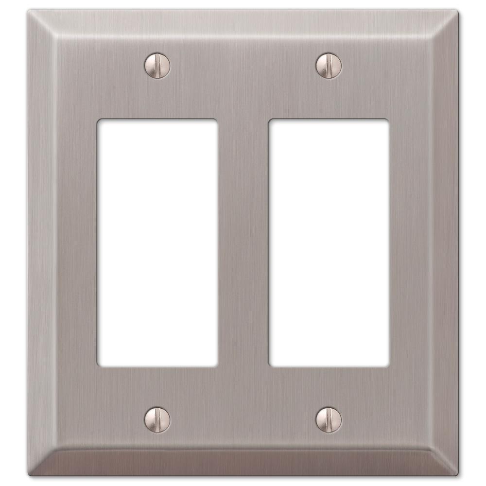 Metallic 2 Gang Rocker Steel Wall Plate - Brushed Nickel