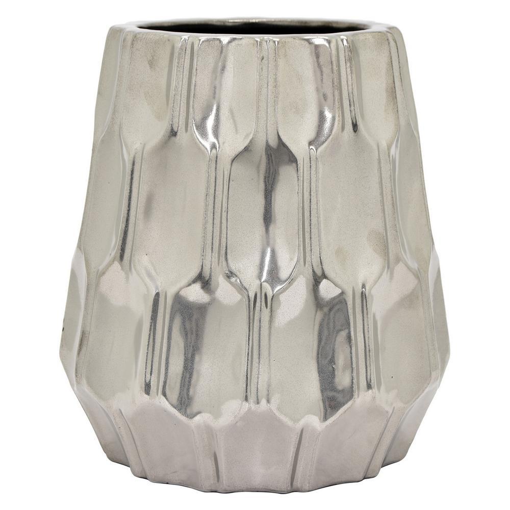 11.5 in. Silver Ceramic Vase