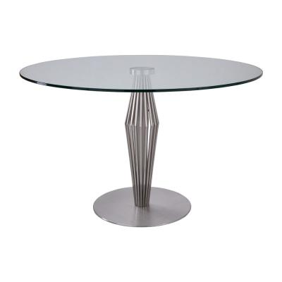Livia Brushed Stainless Steel Finish and Clear Glass top Contemporary Dining Table