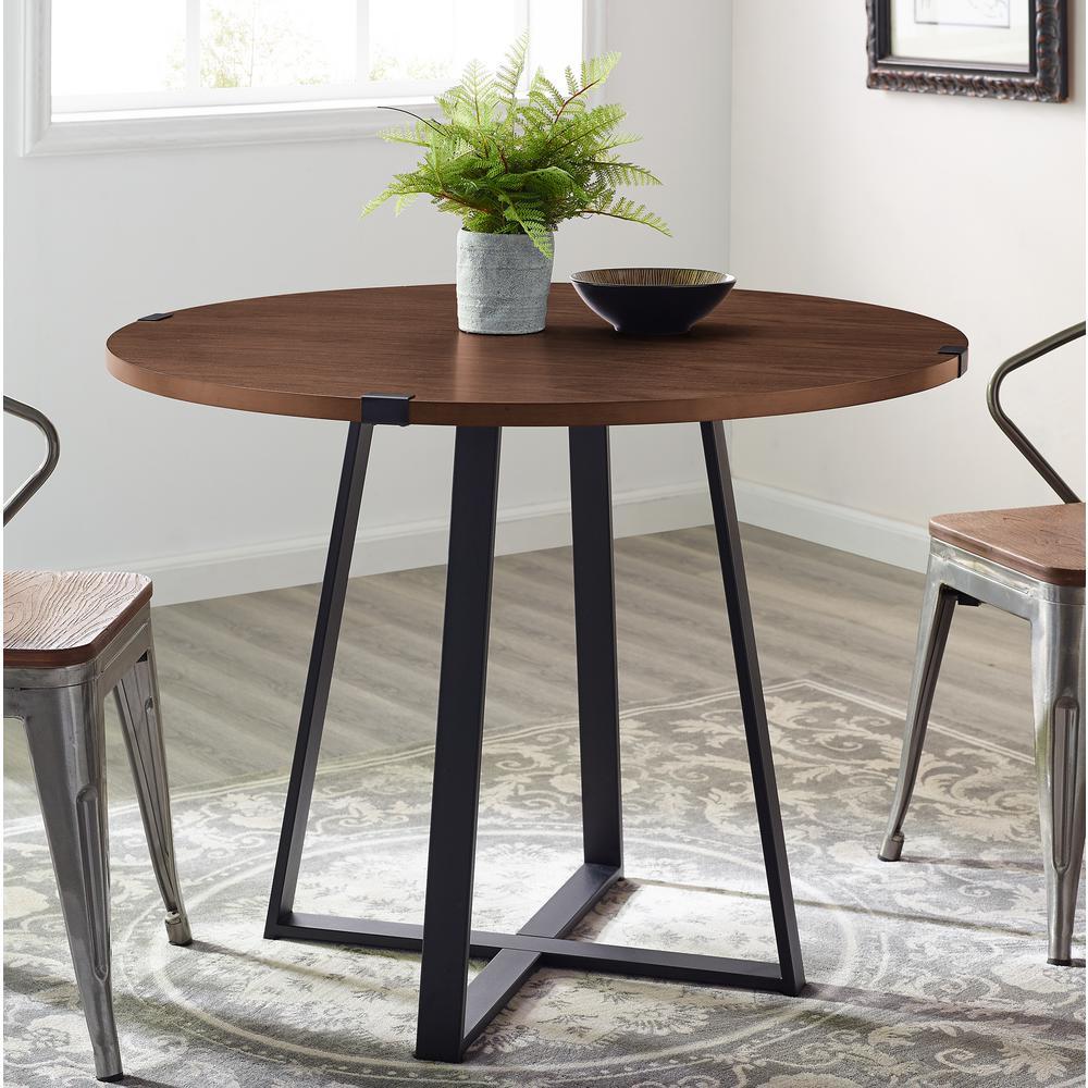 d1e1fef09129 Walker Edison Furniture Company 40 in. Rustic Round Dark Walnut / Black  Dining Table HDW40RDWRADW - The Home Depot