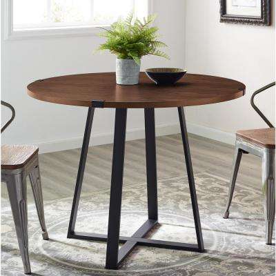 40 in. Rustic Round Dark Walnut / Black Dining Table