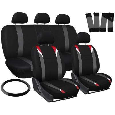 Polyester Seat Covers Set 26 in. L x 21 in. W x 48 in. H 17-Piece Seat Cover Set Racking Stripe Red, Gray, and Black