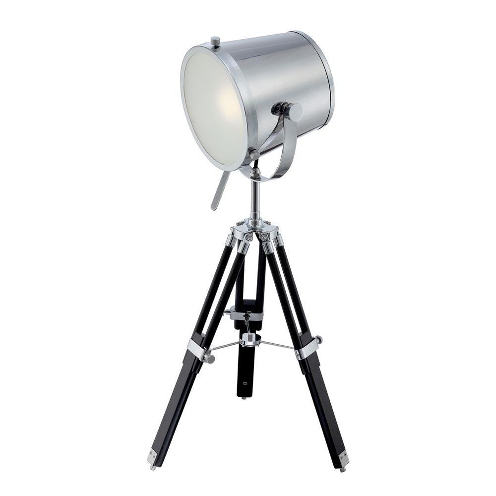 Designer 31 in. Chrome and Black CFL Table Lamp