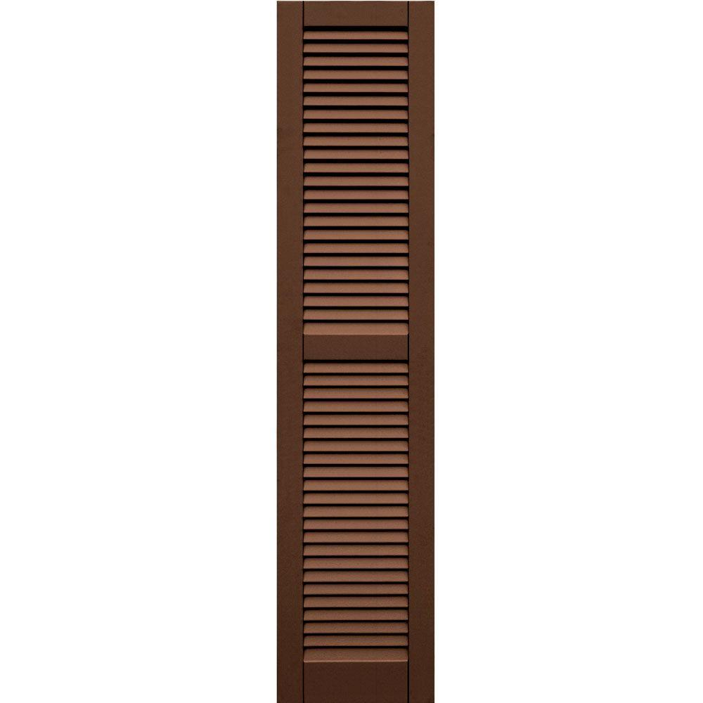 Winworks Wood Composite 15 in. x 67 in. Louvered Shutters Pair #635 Federal Brown