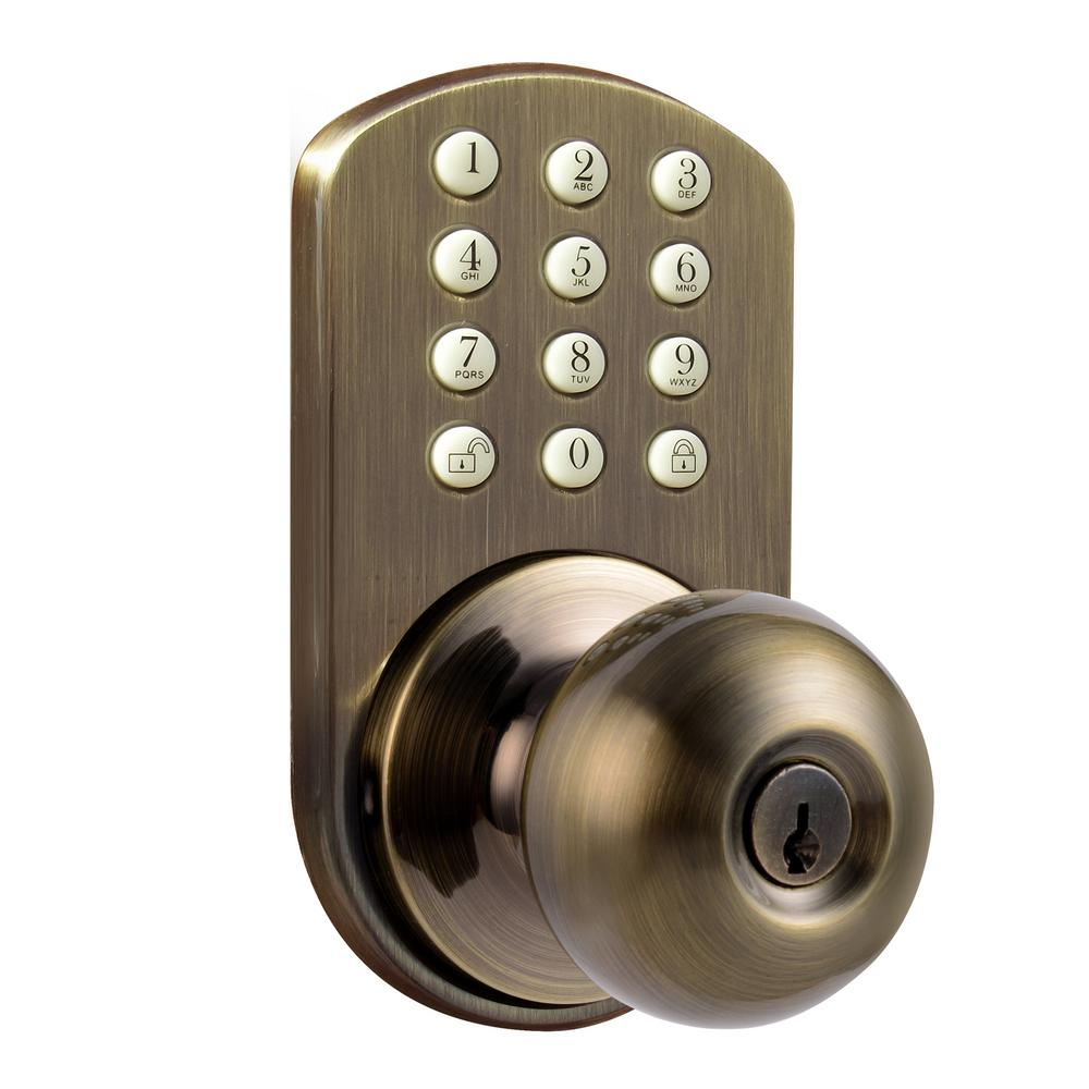 Antique Brass Touch Pad Electronic Entry Door Knob