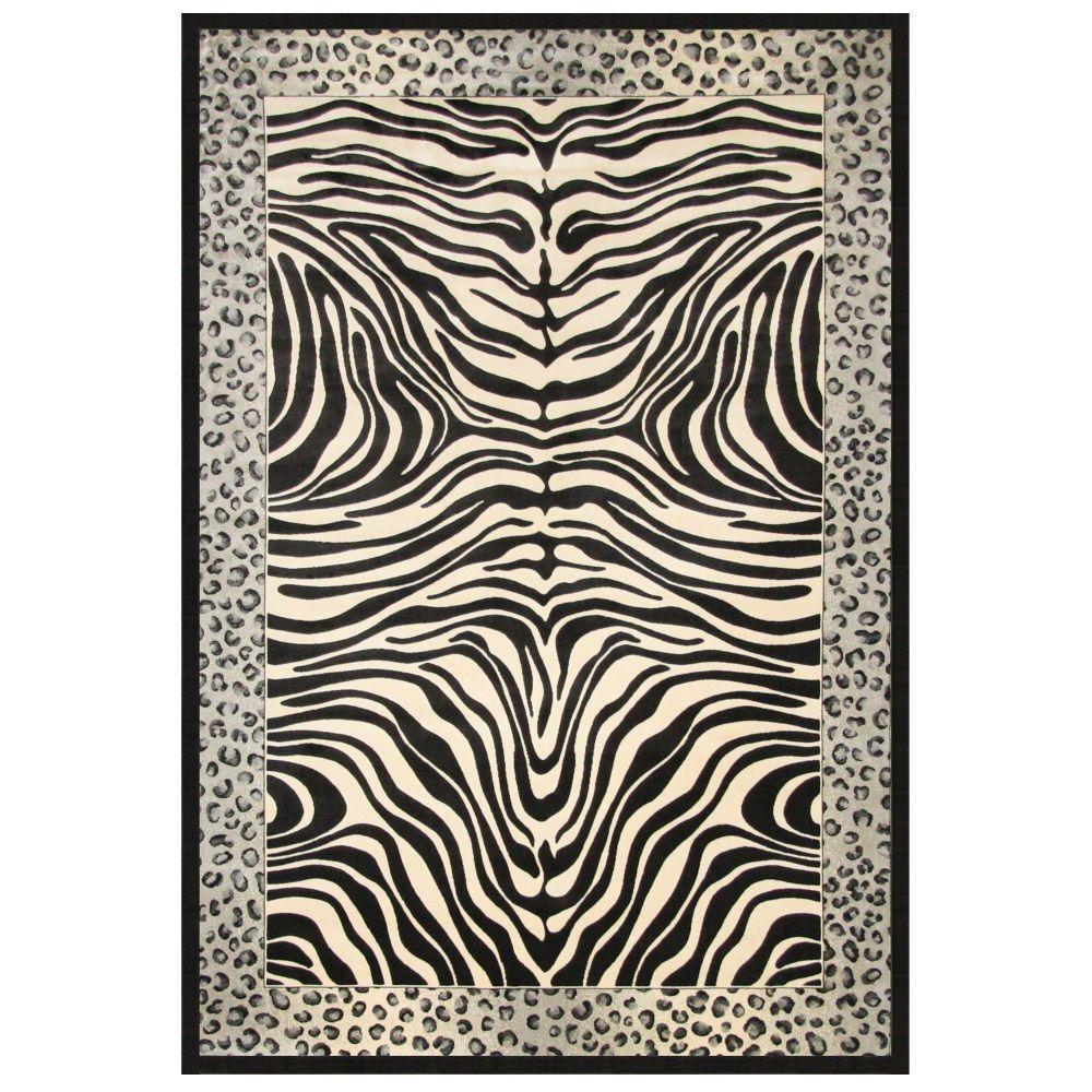 Sams International Sonoma Ziva Black and White 5 ft. 3 in. x 7 ft. 6 in. Area Rug