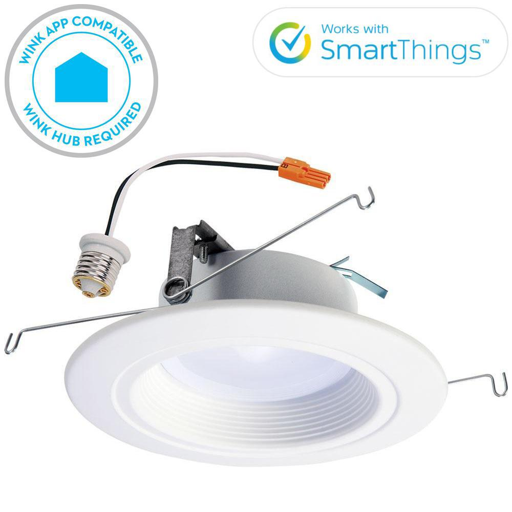 Halo RL 5 in. and 6 in. White Wireless Smart Integrated LED Recessed Downlight Ceiling Fixture, Selectable Color Temperature