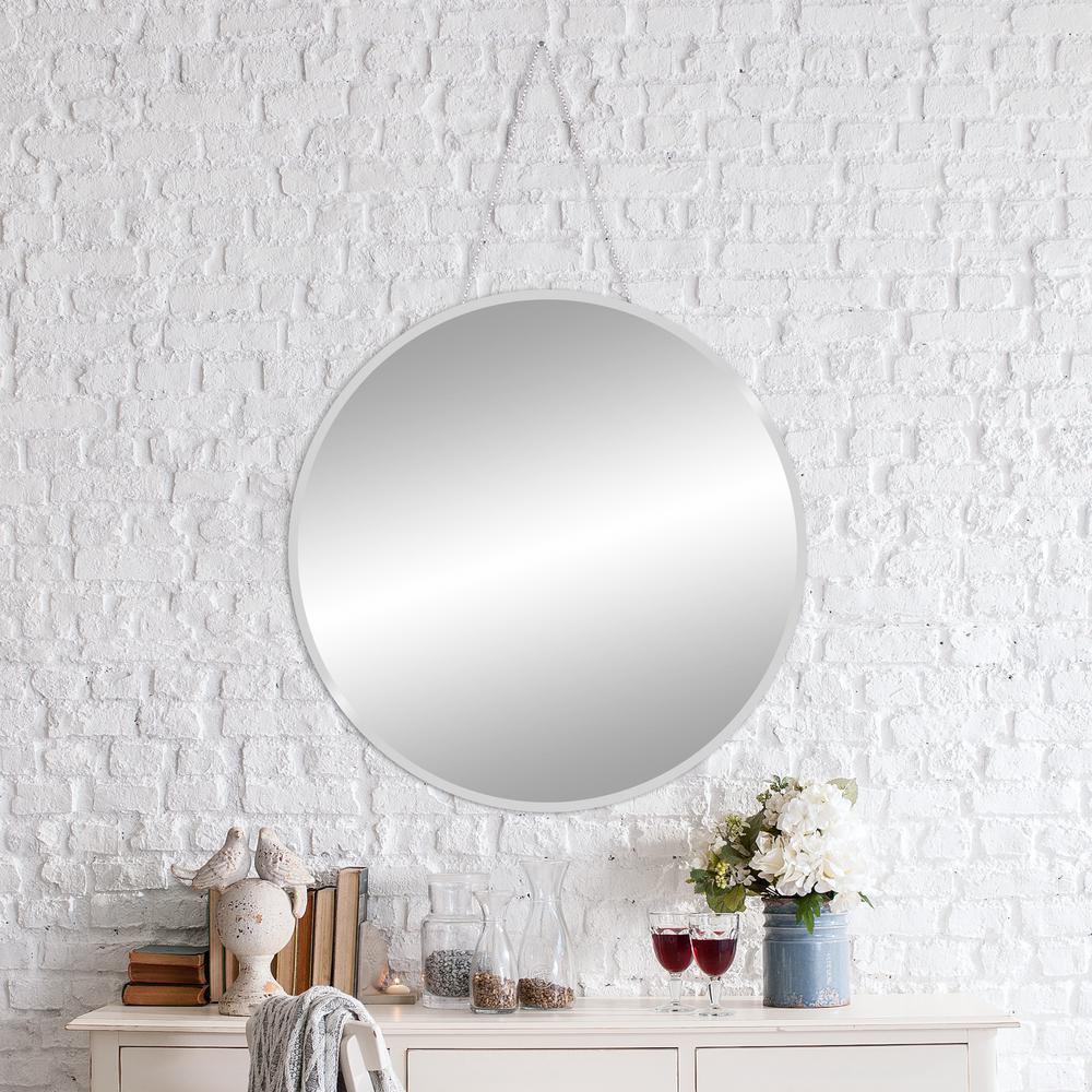 Pinnacle Beveled Hang Chain Round Silver Wall Mirror