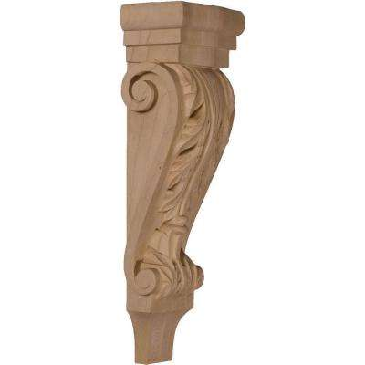 3-3/8 in. x 5-1/8 in. x 15-1/2 in. Unfinished Wood Mahogany Medium Acanthus Pilaster Corbel