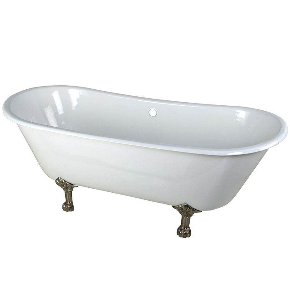 5.6 ft. Cast Iron Satin Nickel Claw Foot Double Slipper Tub
