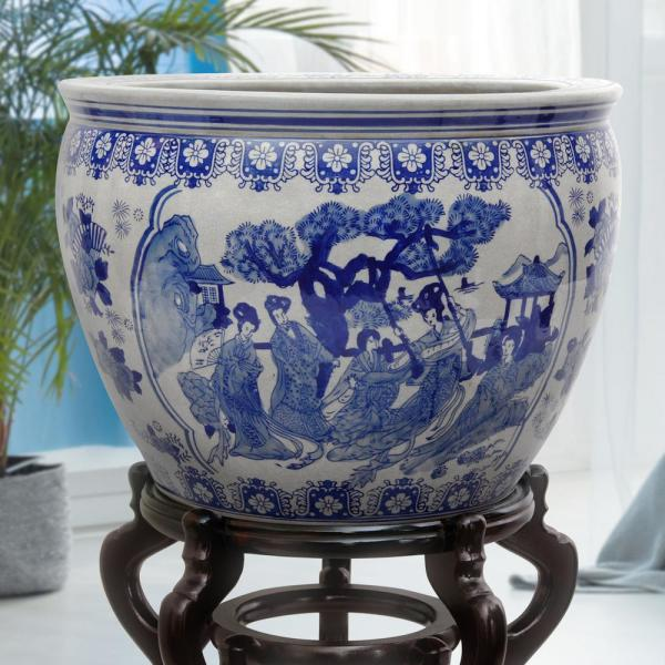 Oriental Furniture 20 in. Ladies Blue and White Porcelain Fishbowl