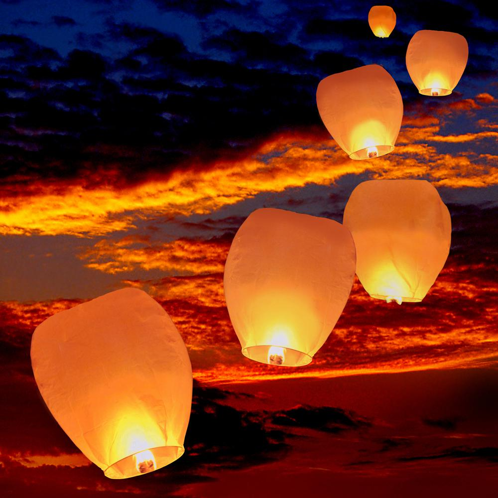Sky Lanterns For Sale >> Lumabase Sky Lanterns 4 Ct White 74004 The Home Depot