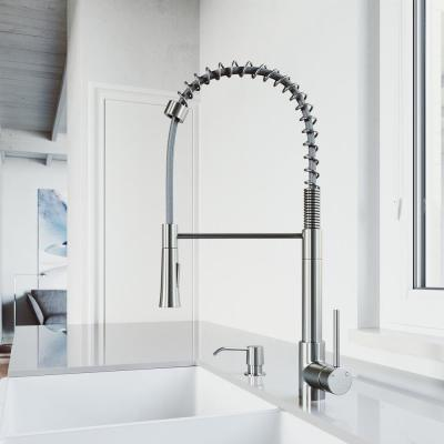 Laurelton Single-Handle Pull-Down Sprayer Kitchen Faucet with Soap Dispenser in Stainless Steel