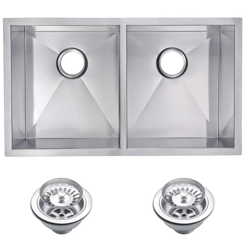 Undermount Zero 28 in. 0-Hole Double Bowl Kitchen Sink with Strainer in Premium Scratch Resistant Satin Finish