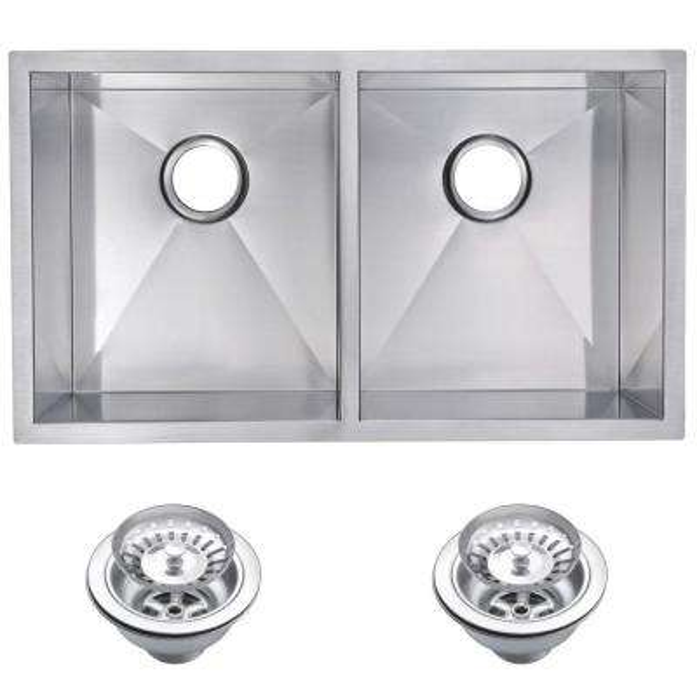 Undermount Zero Radius Stainless Steel 31 in. 0-Hole Double Basin Kitchen Sink with Strainer in Satin Finish