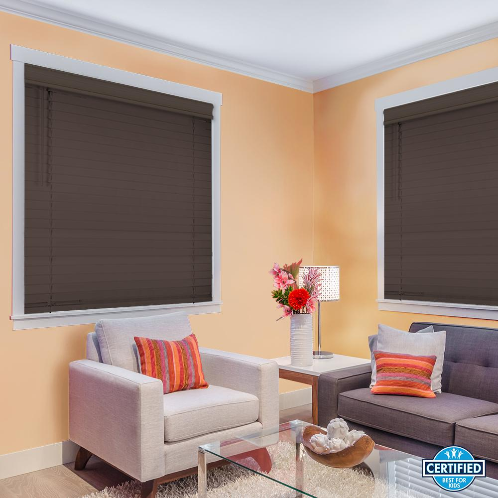 Home decorators collection espresso cordless 2 1 2 in premium faux wood blind 53 5 in w x 64 - Home decorators faux wood blinds gallery ...