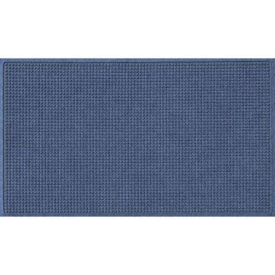 Navy 36 in. x 108 in. Squares Polypropylene Door Mat
